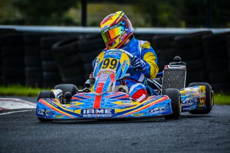 Alyx Coby on track at Round 5 of the Motorsport Ireland Karting Championship at Nutts Corner.