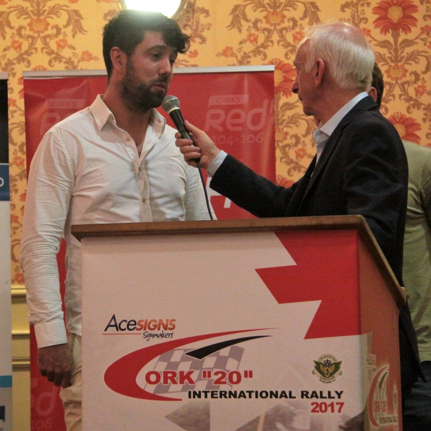 Macroom Navigator William Lynch who has recently won the Irish Tarmac Rally Championship, Modified Section being interviewed at the launch.