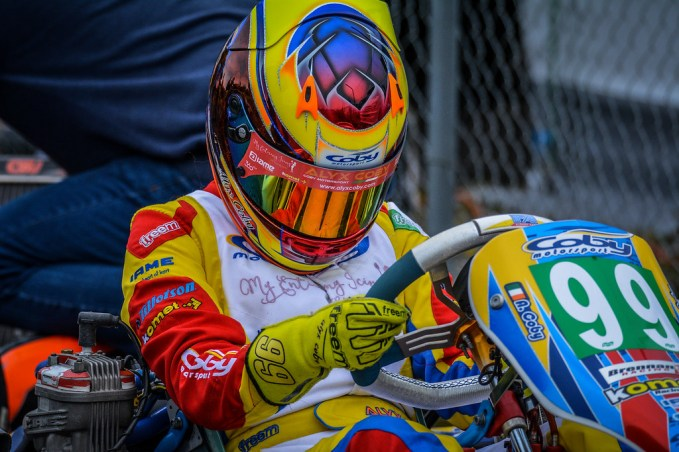 Alyx Coby prepares to race at Round 9 of the Motorsport Ireland Karting Championship. Photo: Marc Quinlivan