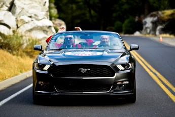 NO FEE PIC 02/11/17: Stephen Kelly and Ciaran Blackhall pictured driving through Yosemite National Park on the first Cannonbal USA. Ireland's CANNONBALL supercar event is currently blazing a trail through America. A group of sixty Irish Cannonballers jetted off from Dublin to San Francisco this week for the largest and most exhilarating foreign CANNONBALL event. The route takes in San Fransisco, Yosemite National Park, Mammoth Lakes, Death Valley, Las Vegas, Hollywood, Los Angeles, Santa Barbara and Santa Maria and Carmel before looping back to San Francisco and Cannonballers are driving in style in a convoy of high performnce convertible Muscle cars including Ford Mustangs, Cameros and Dodge Chargers and a Shelby. Cannonball is an Irish Superrcar Event which has raised almost €1,000,000 for Irish Childrens Charities. Photo: Kasia Farat
