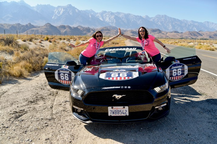 NO FEE PIC 02/11/17: Kasia Farat and Valerie Grogan pictured taking a pitstop in Death Valley at the first Cannonbal USA. Ireland's CANNONBALL supercar event is currently blazing a trail through America. A group of sixty Irish Cannonballers jetted off from Dublin to San Francisco this week for the largest and most exhilarating foreign CANNONBALL event. The route takes in San Fransisco, Yosemite National Park, Mammoth Lakes, Death Valley, Las Vegas, Hollywood, Los Angeles, Santa Barbara and Santa Maria and Carmel before looping back to San Francisco and Cannonballers are driving in style in a convoy of high performnce convertible Muscle cars including Ford Mustangs, Cameros and Dodge Chargers and a Shelby. Cannonball is an Irish Superrcar Event which has raised almost €1,000,000 for Irish Childrens Charities. Photo: Kasia Farat