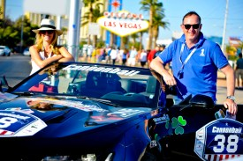 NO FEE PIC 02/11/17: Alan Bannon Founder of Cannonball Ireland (right) pictured with Grace Mulvihill in Las Vegas on his first Cannonbal USA. Ireland's CANNONBALL supercar event is currently blazing a trail through America. A group of sixty Irish Cannonballers jetted off from Dublin to San Francisco this week for the largest and most exhilarating foreign CANNONBALL event. The route takes in San Fransisco, Yosemite National Park, Mammoth Lakes, Death Valley, Las Vegas, Hollywood, Los Angeles, Santa Barbara and Santa Maria and Carmel before looping back to San Francisco and Cannonballers are driving in style in a convoy of high performnce convertible Muscle cars including Ford Mustangs, Cameros and Dodge Chargers and a Shelby. Cannonball is an Irish Superrcar Event which has raised almost €1,000,000 for Irish Childrens Charities. Photo: Kasia Farat