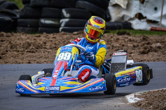 Alyx Coby at Round 2 of the Motorsport Ireland Karting Championship at Mondello Park. Photo: Marc Quinlivan.
