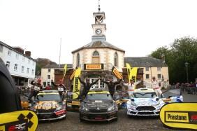Overall Podium (l-r) Martin McCormack / David Moynihan Skoda Fabia R5, Fredrik Ahlin / Torstein Eriksen Skoda Fabia R5, Osian Pryce / Dale Furniss Ford Fiesta R5