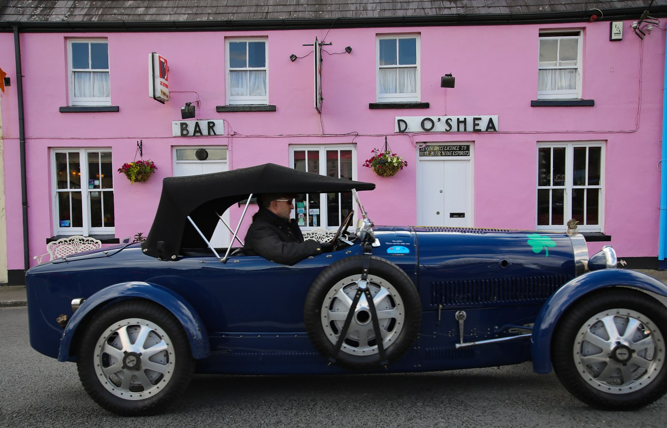 Bugatti Tour Meeting driving through Sneem, Co Kerry. International Bugatti Meetings are held in a rotation through Europe. In 2019 the meeting based at the Dunloe Castle, Killarney, toured the peninsulas of West Cork and Kerry. Driving the Wild Atlantic Way. The most iconic and valuable Bugatti cars celebrates its 110th anniversary. Frenchman Ettore Bugatti created the first engineering art form of car manufacturing in 1909. The symbolic racing cars are worth millions of euro.Photo:Valerie O'Sullivan©