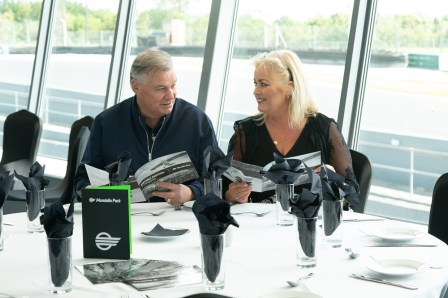 Derry and Sallyanne choosing their menu for the VIP Lola Package Lunch at the Mondello Historic Festival