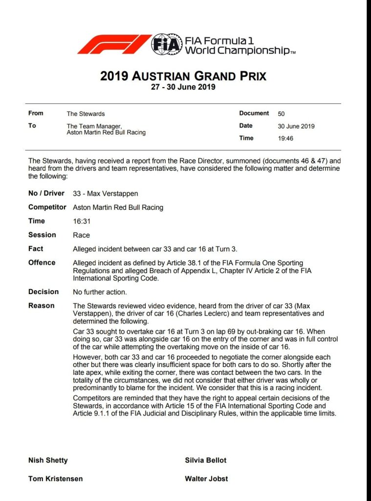 F1 Notizie Comunicato FIA - Perché Verstappen non è stato penalizzato GP Austria