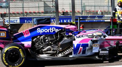 f1 la racing point di stroll perde il cofano motore a spa