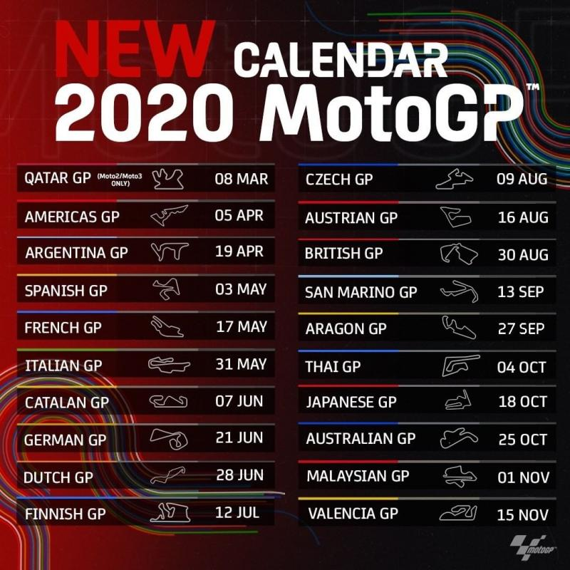 calendario motogp 2020 aggiornato coronavirus