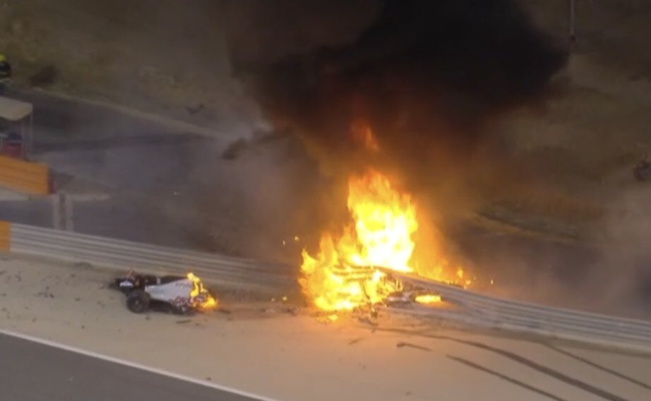 f1 video incidente oggi grosjean bahrain