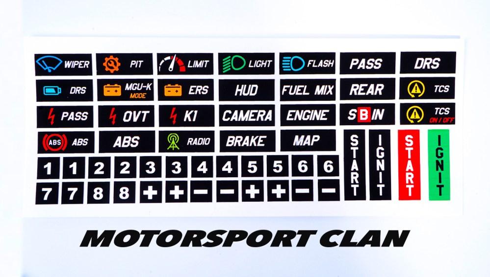 adesivi stickers sim racing volante f1 e acc