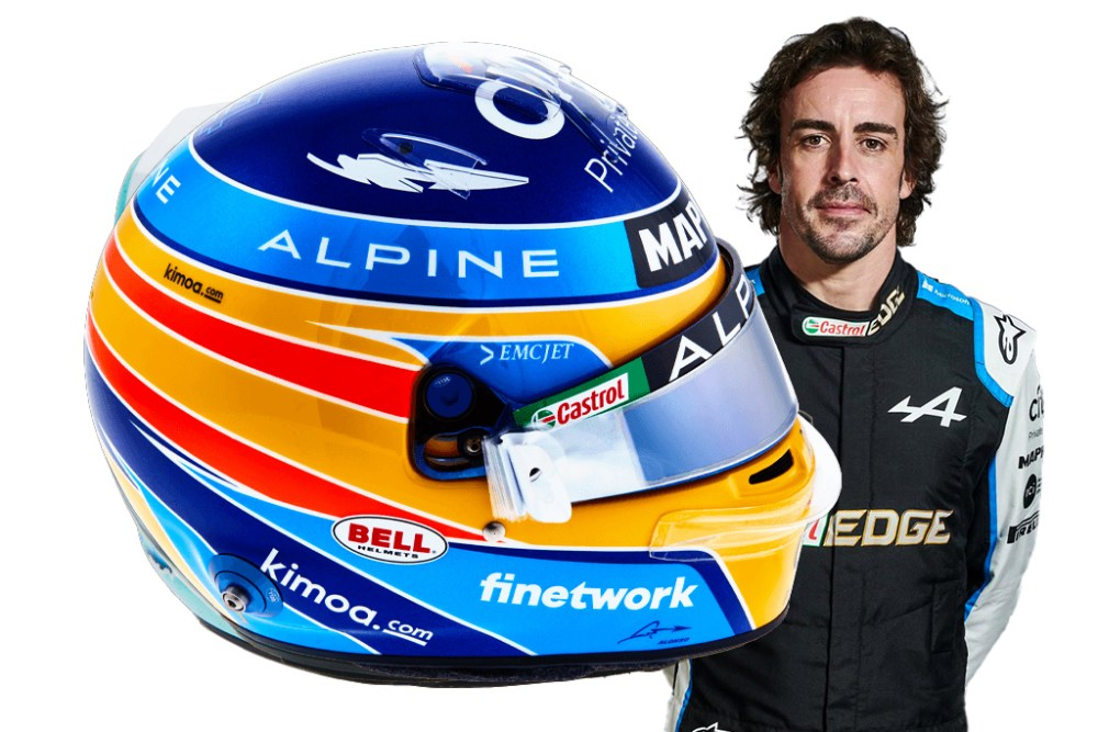 modellino casco alonso alpine 2021 scala 1:5 spark helmet