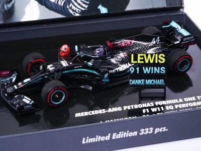 modellino f1 hamilton mercedes w11 91 win minichamps 1:43