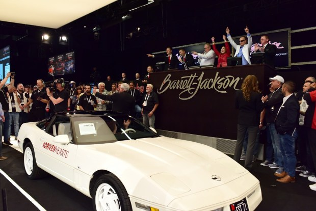 Carolyn and Craig Jackson's 1988 Chevrolet Corvette 35th Anniversary (Lot #3008) sold for $  350,000 to benefit the American Heart Association.