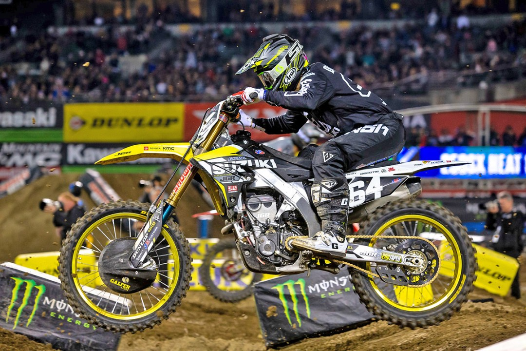 Flying low and fast Jimmy Decotis (#64) grabbed a victory in his heat race - Oakland Supercross