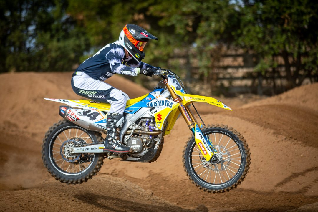 New to the Twisted Tea/H.E.P Motorsports Suzuki team is Brandon Hartranft on the #34 Suzuki RM-Z450