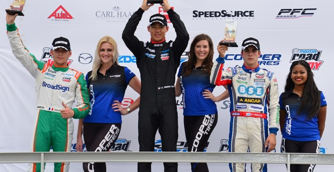 Weiron Tan wins Pro Mazda race at Barber Motorsports Park.