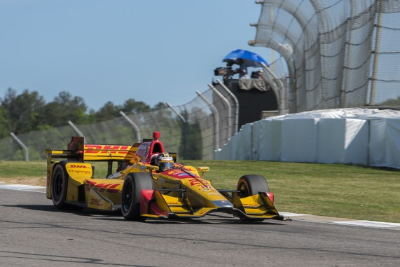 Ryan Hunter-Reay (28) comes down the hill after exiting turn 13 during the Honda Grand Prix of Alabama at Barber Motorsports Park, , Sunday, April 24, 2016, in Birmingham, Alabama. (Matthew Bishop)