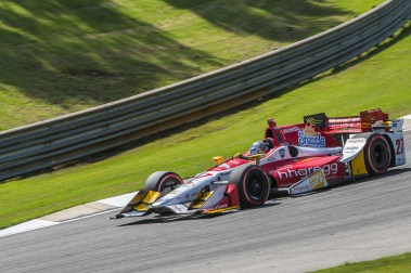 Marco Andretti (27) shoots through the bottom of turn 3 during the Honda Grand Prix of Alabama at Barber Motorsports Park, , Sunday, April 24, 2016, in Birmingham, Alabama. (Matthew Bishop)