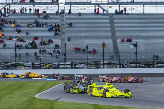Simon Pagenaud(22) leads the field into turn 2during the Angie's List Grand Prix of Indianapolis at Indianapolis Motor Speedway, Saturday, May. 14, 2016, in Indianapolis, IN. (Tribute Racing/Matthew Bishop)