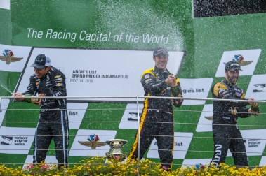 Helio Castroneves (Left), Simon Pagenaud (Center) and James Hinchcliffe (Right) celebrate after the Angie's List Grand Prix of Indianapolis at Indianapolis Motor Speedway, Saturday, May. 14, 2016, in Indianapolis, IN. (Tribute Racing/Matthew Bishop)