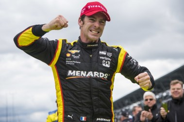Simon Pagenaud(22) celebrates after winning the Angie's List Grand Prix of Indianapolis at Indianapolis Motor Speedway, Saturday, May. 14, 2016, in Indianapolis, IN. (Tribute Racing/Matthew Bishop)