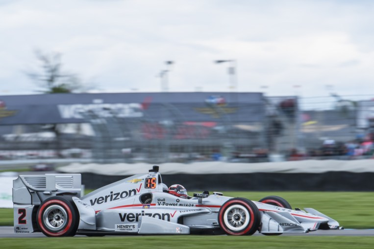 Juan Pablo Montoya(2) exits turn 7 during the Angie's List Grand Prix of Indianapolis at Indianapolis Motor Speedway, Saturday, May. 14, 2016, in Indianapolis, IN. (Tribute Racing/Matthew Bishop)