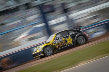 Tanner Foust glides over the dirt en route to a second in qualifying for Red Bull Global Rallycross Supercars at Daytona International Speedway on June 18, in Daytona Beach, FL