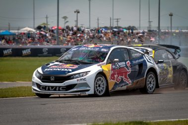 Marcus Eriksson battles with Tanner Foust into the corner at the start of a heat for the Red Bull Global Rallycross Supercars at Daytona International Speedway on June 18, in Daytona Beach, FL