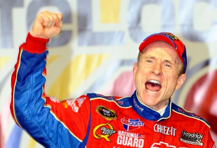 JOLIET, IL - JULY 11:  Mark Martin, driver of the #5 CARQUEST/Kellogg's Chevrolet, celebrates in victory lane after winning the NASCAR Sprint Cup Series LifeLock.com 400 at Chicagoland Speedway on July 11, 2009 in Joliet, Illinois.  (Photo by John Harrelson/Getty Images)
