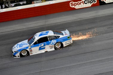 Sparks fly outage back of Brad Keselowski's (2) car during the 2016 Southern 500 in Darlington, Sc, Sunday, September 4, 2016.