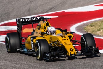 Kevin Magnussen fighting for his Renault seat came home 12th after a penalty for passing Daniil Kvyat