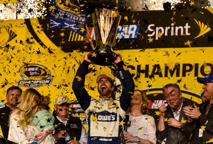 Sprint Cup Series driver Jimmie Johnson (48) celebrates after the Ford Ecoboost 400 at Homestead-Miami Speedway, Sunday, Nov. 20, 2016, in Homestead, FL.