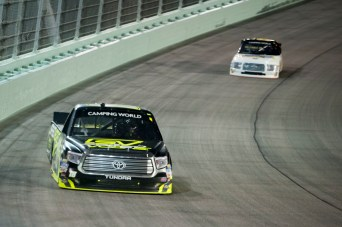 Noah Grayson (18) runs high during the Ford Ecoboost 200 at Homestead-Miami Speedway.