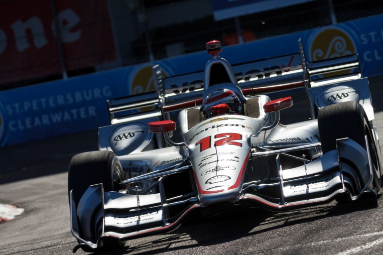 Will Power slips through turn 4 en route to pole position for the Firestone Grand Prix of St. Petersburg, on Saturday Mar. 11, 2017