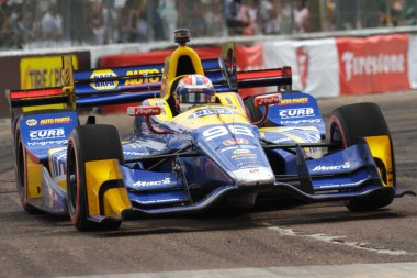Alexander Rossi rockets out of turn 5 during the Firestone Grand Prix of St. Petersburg on Sunday Mar. 12, 2017.