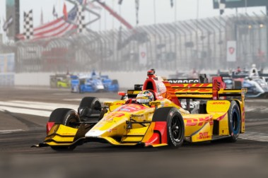 Ryan Hunter-Reay after avoiding contact on a restart during the Firestone Grand Prix of St. Petersburg on Sunday Mar. 12, 2017.