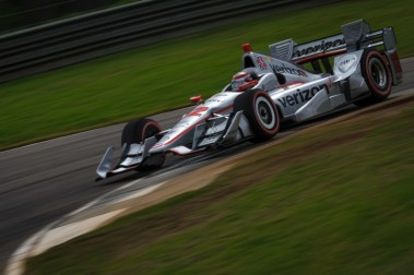 Will Power thrashes the apex curb of turn 8 during the Honda Indy Grand Prix of Alabama at Barber Motorsports Park, on April 23, 2017.