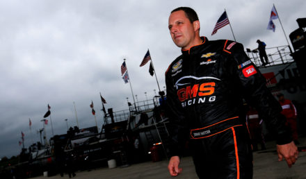 KANSAS CITY, KS - MAY 11:  Johnny Sauter, driver of the #21 Allegiant Travel Chevrolet,  walks through the garage during practice for the NASCAR Camping World Truck Series Toyota Tundra 250 at Kansas Speedway on May 11, 2017 in Kansas City, Kansas.  (Photo by Sean Gardner/Getty Images)