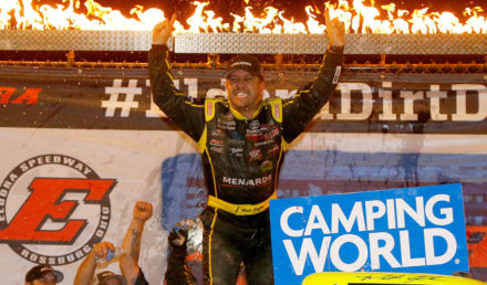 ROSSBURG, OH - JULY 19:  Matt Crafton, driver of the #88 Ideal Door/Menards Toyota, celebrates after winning the NASCAR Camping World Truck Series 5th Annual Dirt Derby 150 at Eldora Speedway on July 19, 2017 in Rossburg, Ohio.  (Photo by Sean Gardner/Getty Images)