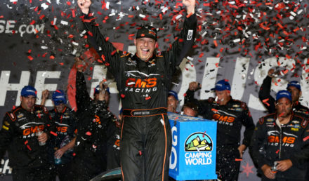 JOLIET, IL - SEPTEMBER 15:  Johnny Sauter, driver of the #21 ISMConnect Chevrolet, celebrates in victory lane after winning the NASCAR Camping World Truck Series TheHouse.com 225 at Chicagoland Speedway on September 15, 2017 in Joliet, Illinois.  (Photo by Sean Gardner/Getty Images)
