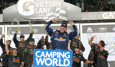 DAYTONA BEACH, FL - FEBRUARY 16:  Johnny Sauter, driver of the #21 Allegiant Airlines Chevrolet, celebrates in Victory Land after winning the NASCAR Camping World Truck Series NextEra Energy Resources 250 at Daytona International Speedway on February 16, 2018 in Daytona Beach, Florida.  (Photo by Brian Lawdermilk/Getty Images)