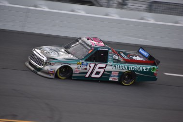 Austin Hill running solo laps. He would head on to win the NextEra Energy Resources 250 the next night.