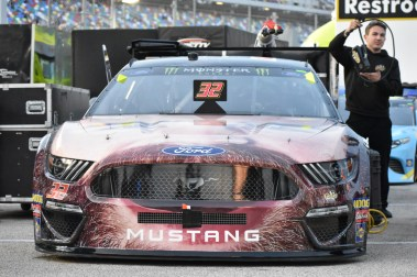 Corey LaJoie's bizarre looking Old Spice Ford Mustang.
