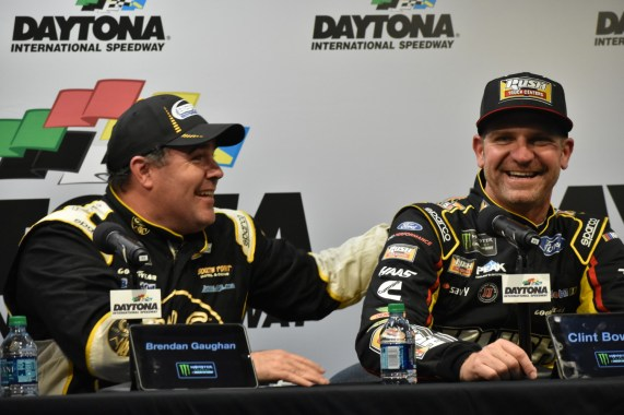 Brendan Gaughan and Clint Bowyer joke around during the post-race conference at Daytona.