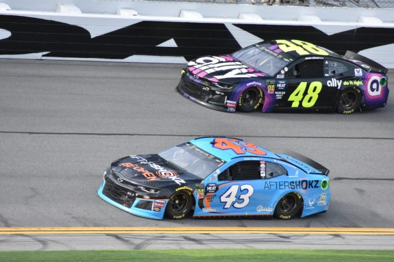 Bubba Wallace (43) and Jimmie Johnson (48)