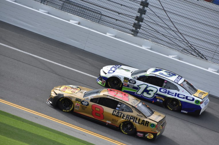 Rookie Daniel Hemric (8) and Ty Dillon (13) battling each other.
