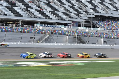 The Ford parade, led by Ryan Blaney, during Friday afternoon practice.