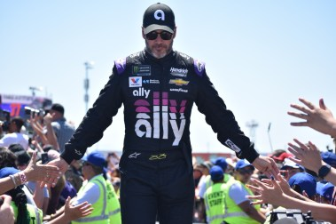 Jimmie Johnson during driver intros at Sonoma.