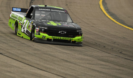 NEWTON, IOWA - JUNE 16: Brett Moffitt, driver of the #24 Destiny Homes Smart Series Chevrolet, drives during the NASCAR Gander Truck Series M&M's 200 Presented by Casey's General Store at Iowa Speedway on June 16, 2019 in Newton, Iowa. (Photo by Stacy Revere/Getty Images)